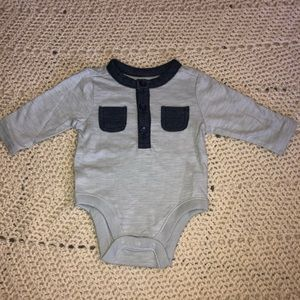 Old navy gray and blue jean onesie
